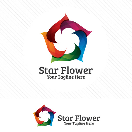 Colorful star design vector, star flower concept design.