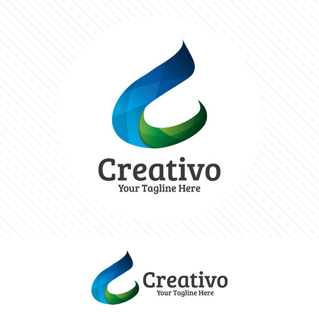 Digital letter C design vector, modern and colorful style.