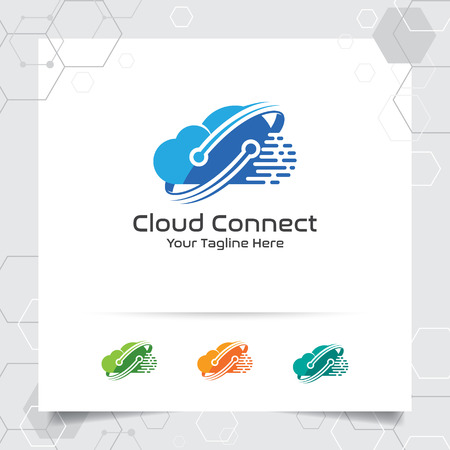 Cloud hosting logo vector design with concept of digital and connect symbol. Cloud computing vector illustration for hosting provider, server rack, and sharing storage.