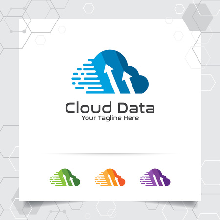Cloud hosting logo vector design with concept of digital and data symbol. Cloud computing vector illustration for hosting provider, server rack, and sharing storage.
