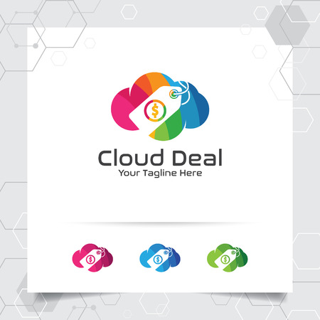 Colorful cloud logo vector design with concept of online shop illustration. Cloud and price tag icon vector for business, store, digital online shop.
