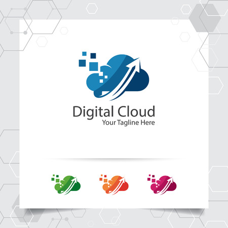 Cloud hosting logo vector design with concept of data upload symbol. Cloud computing vector illustration for hosting provider, server rack, and sharing storage.