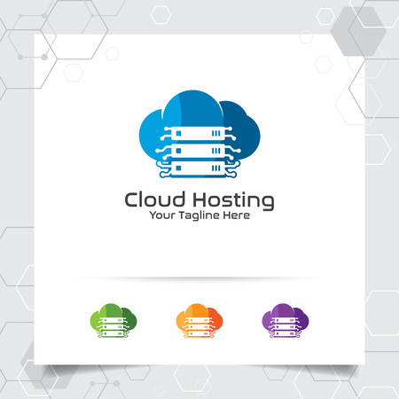 Cloud hosting logo vector design with concept of server and cloud icon illustration for hosting provider, server rack, and sharing storage. Illustration
