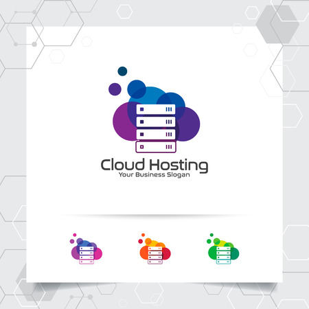 Cloud hosting logo vector design with concept of server and cloud icon illustration for hosting provider, server rack, and sharing storage. 向量圖像