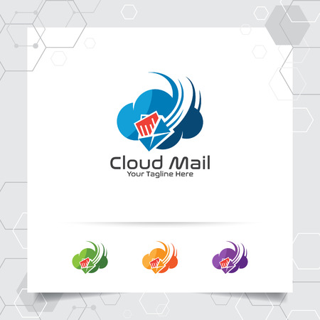 Cloud logo vector design with concept of mail and messaging icon illustration for business, app and cloud computing.