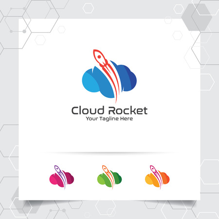 Cloud rocket logo design with concept of colorful cloud vector illustration for hosting provider, server rack, and sharing storage. 向量圖像