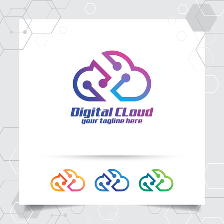 Cloud data logo vector design with concept of cloud and technology symbol. Cloud vector logo for app, hosting, server, and cloud storage.