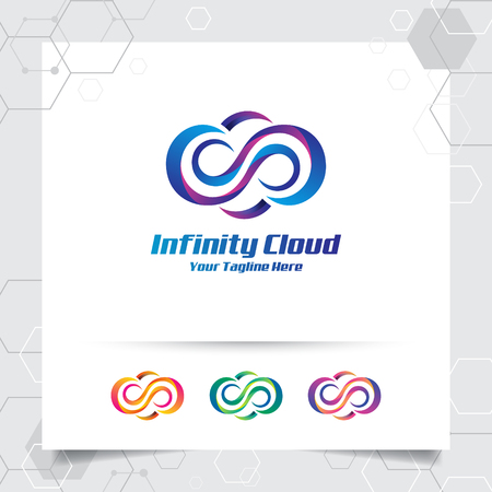 Cloud logo vector design with concept of cloud and colorful modern style. Cloud vector logo for app, hosting, server, and cloud storage.