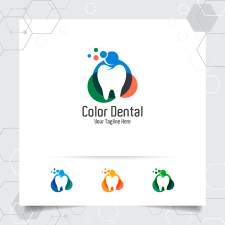 Dental logo dentist vector design with concept of colorful tooth icon . Dental care for hospital, doctor, clinic, and health. 版權商用圖片 - 121419243