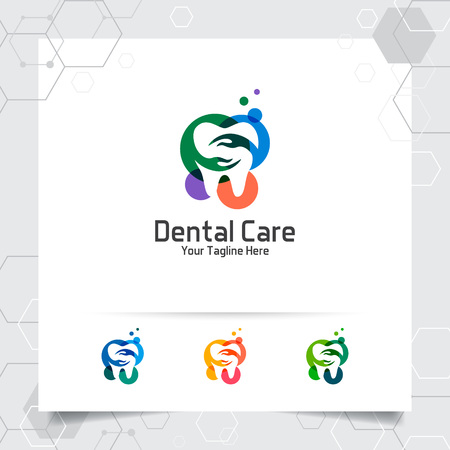 Dental logo dentist vector design with concept of hand and tooth icon . Dental care for hospital, doctor, clinic, and health.