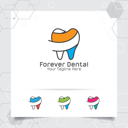 Dental logo dentist vector design with concept of flat line tooth icon . Dental care for hospital, doctor, clinic, and health.