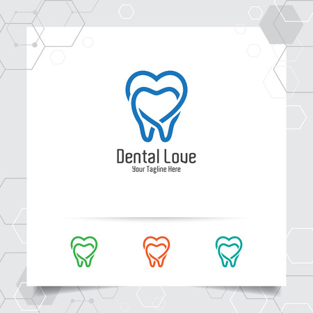 Dental logo dentist vector design with concept of heart love symbol and tooth icon . Dental care for hospital, doctor, clinic, and health. 向量圖像