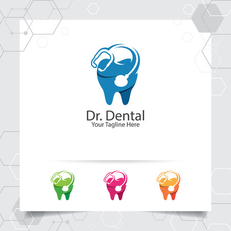 Dental logo dentist vector design with concept of stethoscope and tooth icon . Dental care for hospital, doctor, clinic, and health.