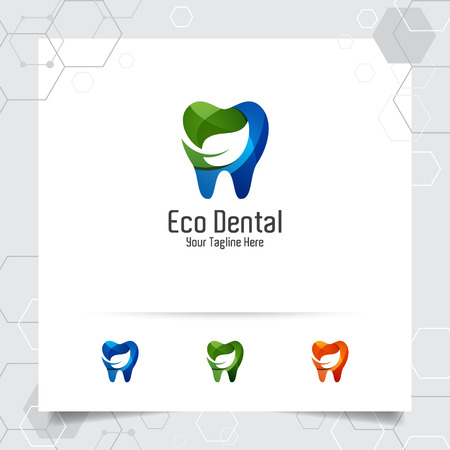 Dental logo dentist vector design with concept of green leaves and tooth icon . Dental care for hospital, doctor, clinic, and health.