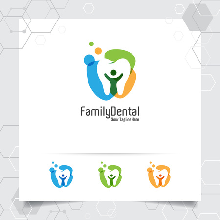 Dental logo dentist vector design with concept of people and tooth icon . Dental care for hospital, doctor, clinic, and health.
