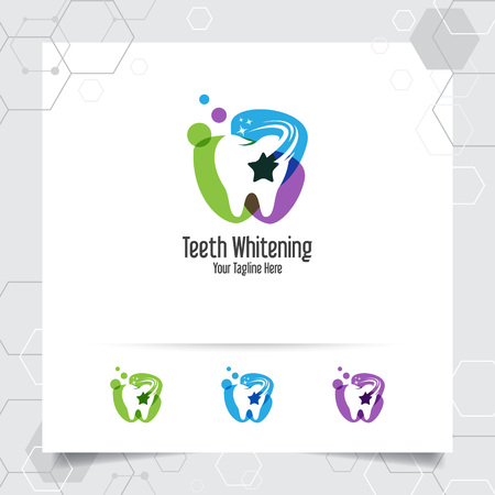 Dental logo dentist vector design with concept of star symbol and tooth icon . Dental care for hospital, doctor, clinic, and health. 向量圖像