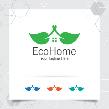 Green house logo design vector with concept of home and leaf icon illustration for real estate, property, residence and mortgage.
