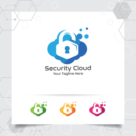 Security cloud logo design vector with concept of protection shield and cloud icon illustration for internet data privacy lock