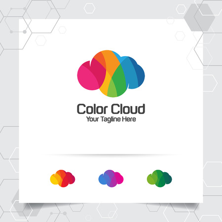 Color cloud logo vector design with concept of colorful cloud. Cloud icon vector for business, app, cloud hosting and cloud computing. 向量圖像