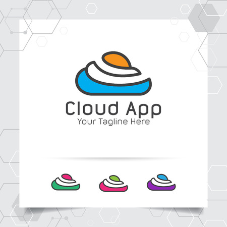 Abstract Cloud logo vector design with concept of flat line cloud icon illustration for business, app, studio, and consulting. 向量圖像