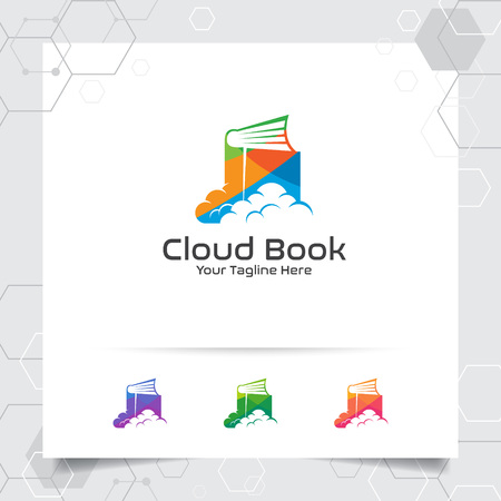 Book cloud logo vector design with concept of colorful cloud and notebook icon illustration for business, library, bookstore, education, and university. 向量圖像