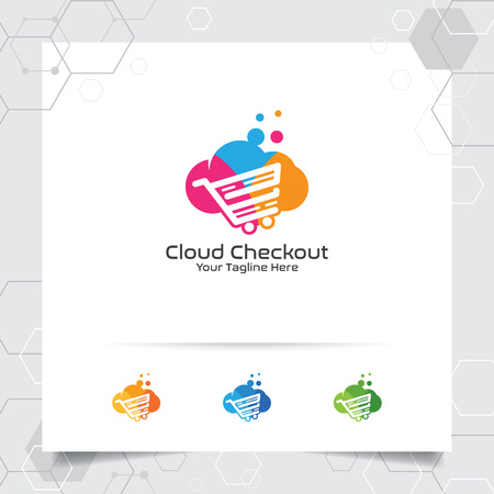 Colorful cloud logo vector design with concept of online shop illustration. Cloud and cart icon vector for business and digital online shop. 向量圖像