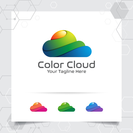 Colorful cloud logo vector design with concept of modern color illustration for business, app, cloud hosting and cloud computing. 向量圖像