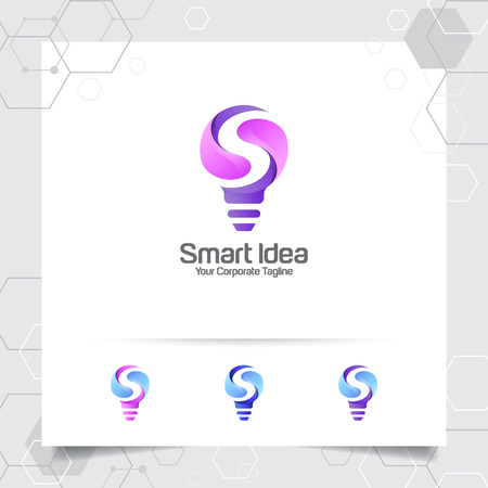 Bulb logo smart idea design concept of letter S symbol and colorful lamp vector icon. Smart idea logo used for studio, professional and agency.