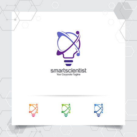Bulb logo idea design concept of digital colorful symbol and icon lamp vector. Smart idea logo used for studio, professional and agency. 版權商用圖片 - 121419399