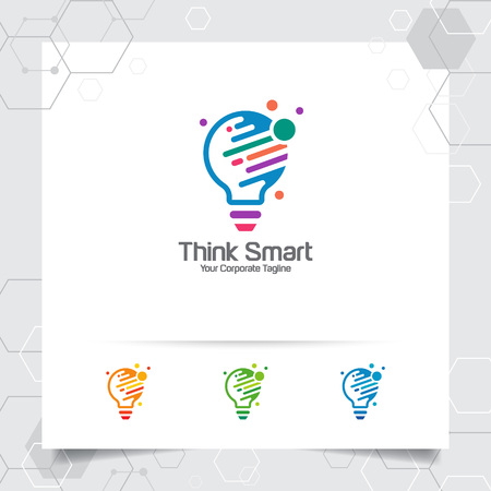 Bulb logo idea design concept of digital colorful symbol and icon lamp vector. Smart idea logo used for studio, professional and agency.