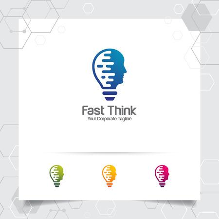 Designkonzept der Gehirnlogobirne des Kopfvektors und des Lampensymbols. Intelligentes Ideenlogo für Studio und Profi.