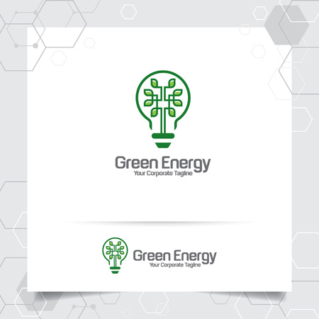 Green logo energy bulb design concept of leaves vector and lamp icon. Electricity logo used for environment and ecology system. 向量圖像