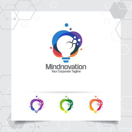 Bulb logo idea design concept of digital colorful symbol and icon lamp vector. Smart idea logo used for studio, professional and agency. 版權商用圖片 - 121561368