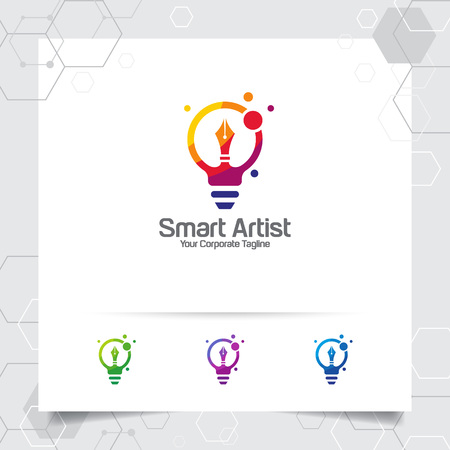 Writer logo bulb idea design concept of pencil icon and colorful lamp vector. Creative idea logo used for studio, professional and agency.