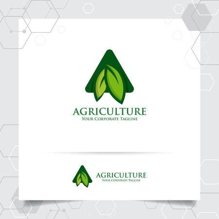 Agriculture logo design with concept of letters A icon and leaves vector. Green nature logo used for agricultural systems, farmer, and plantation products. 向量圖像