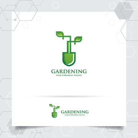 Agriculture logo design with concept of gardening tools icon and leaves vector. Green nature logo used for agricultural systems, farmer, and plantation products.