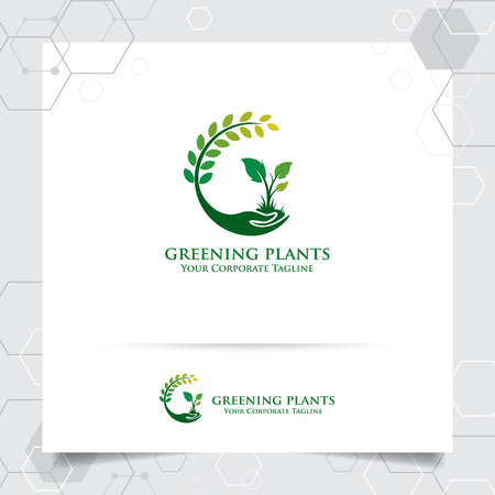 Agriculture logo design with concept of hand icon and plants vector. Green nature logo used for agricultural systems, farmer, and plantation products. Vettoriali
