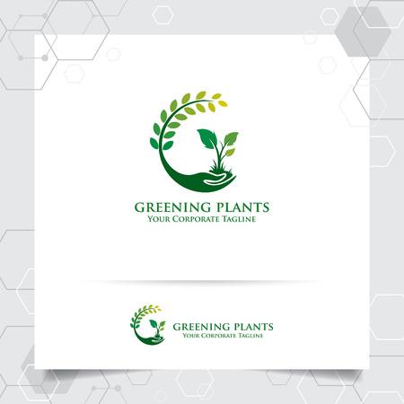 Création de logo d'agriculture avec concept d'icône de la main et vecteur de plantes. Logo de la nature verte utilisé pour les systèmes agricoles, les agriculteurs et les produits de plantation.