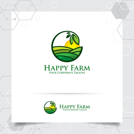 Agriculture logo design with concept of leaves icon and plantation land vector. Green nature logo used for agricultural systems, farmer, and plantation products.