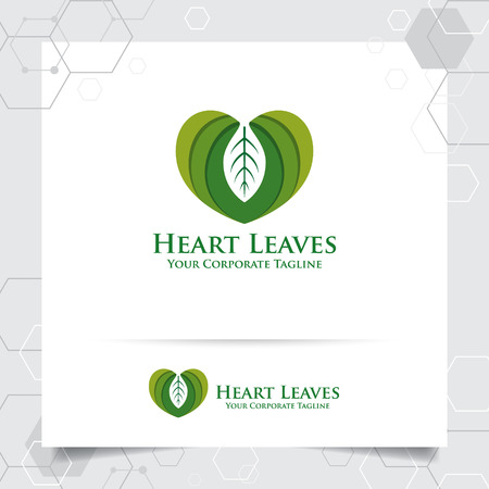 Agriculture logo design with concept of leaves icon and heart love vector. Green nature logo used for agricultural systems, farmer, and plantation products. 向量圖像