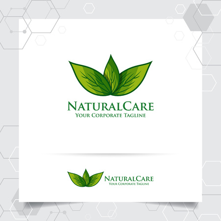 Agriculture logo design with concept of green leaves vector and nature icon. Green nature logo used for agricultural systems, farmer, and plantation products. 向量圖像