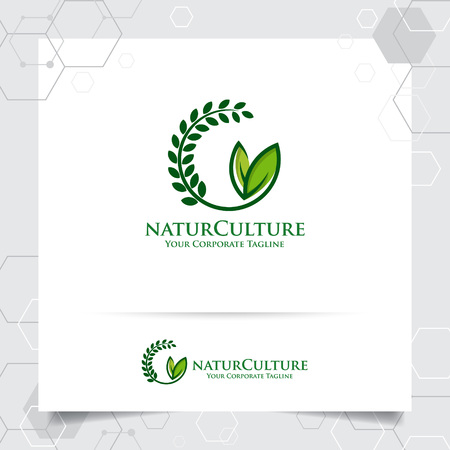 Agriculture logo design with concept of grain icon and plant leaves vector. Green nature logo used for agricultural systems, farmer, and plantation products.