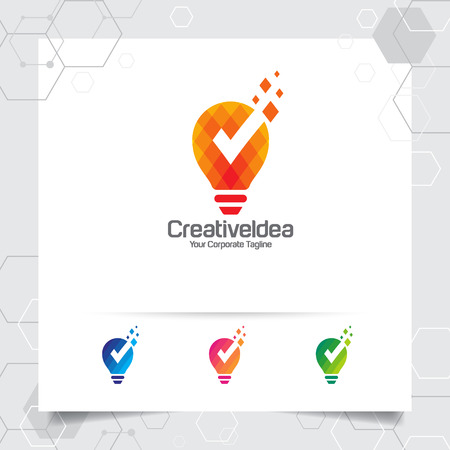 Bulb logo idea design concept of digital pixel symbol and icon lamp vector. Smart idea logo used for studio, professional and agency.