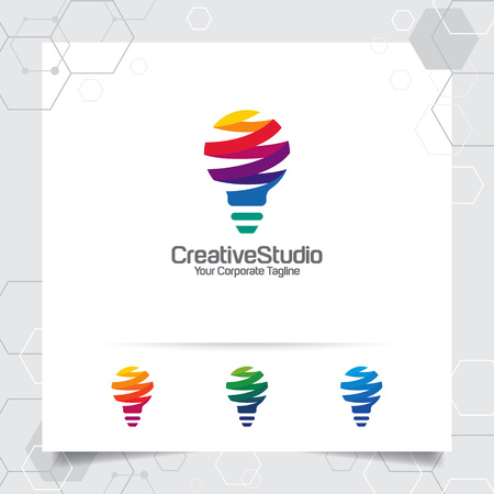 Bulb logo idea design concept of digital colorful symbol and icon lamp vector. Smart idea logo used for studio, professional and agency. 版權商用圖片 - 121419511