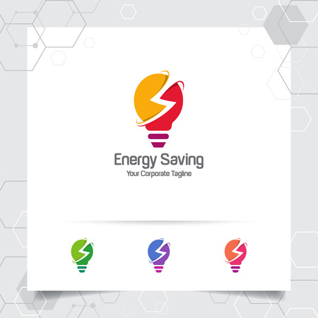 Electricity logo bulb design concept of electric symbol vector and lamp icon. Energy logo used for power plants and electric product. 向量圖像