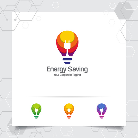 Electricity logo bulb design concept of electric plug vector and lamp icon. Energy logo used for power plants and electric product. 向量圖像