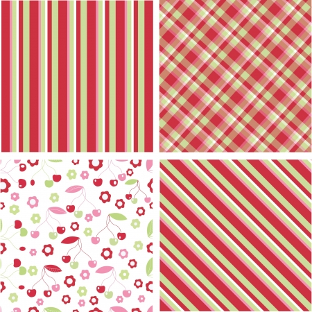 home fashion: Seamless cherry pattern with like colour stripe and plaid Illustration