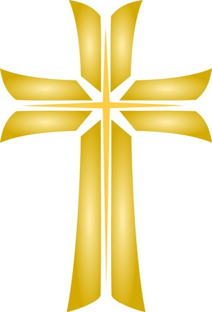 christian symbol: Golden Cross  Illustration