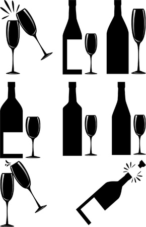 bouteille champagne: Set de vin Illustration Icons_Vector