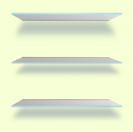 Glass Shelves on the Wall, Vector Illustration Illustration